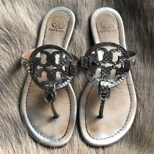 Tory Burch Miller Metallic Silver sandals 6